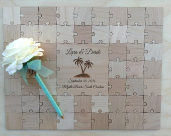 50 Large (2 inch) pieces CUSTOM  Wedding Guest Book Puzzle
