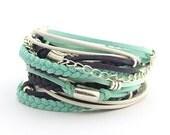 Navy Mint Bohemian Bracelecet, Mint Teal Women Wrap Bracelet,  Mint Pale Teal Navy Boho Bracelet, Gypsy Bracelet, Gift for her, boho chic