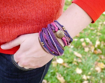 Fuchsia Navy Violet Boho Wrap Bracelet, Purple Pink Gypsy Hippie Bracelet, Bohemian Jewelry, Christmas gift for her, gift for mam