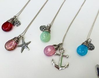 Nautical Charm Necklace, Anchor, Sand Dollar, Starfish, Sterling Silver