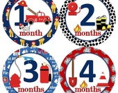 Baby Monthly Milestone Growth Stickers Boy Fireman Firefighter Fire Truck Engine Theme MS832 Baby Boy Shower Gift Baby Boy Photo Prop