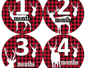 Baby Monthly Milestone Growth Stickers Red Black Buffalo Plaid Deer Rustic Nursery Theme MS829 Baby Shower Gift Baby Photo Props