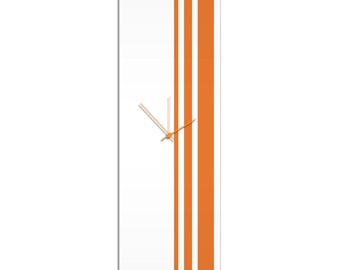 Large Modern Clock 'Orange Triple Stripe Clock' by Adam Schwoeppe - Wall Decor Minimalist Accent Piece on Acrylic