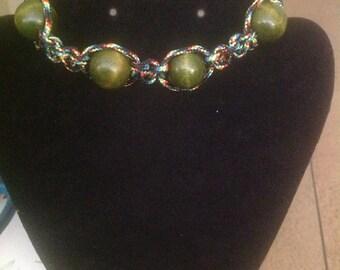 Green Rainbow Shamballa Bracelet