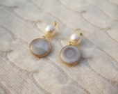 Eufrat- Cream and Ivory Agate and Sawrovski Pearls Statement Earrings
