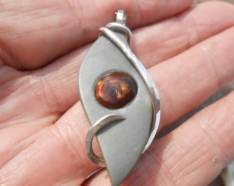 Mexican Fire Agate Inlay Silver Wrapped Pendant