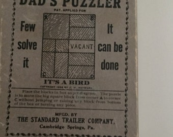 Dad's Puzzler Game 1926 Game Standard Trailer Company Cambridge Springs PA It's A Bird