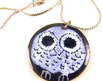 Copper Enamel Pendant Necklace Fabulous Owl Design SO Cute Signed J Merrifield Canada Hand Made