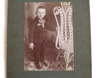 Vintage sepia photo young boy photograph Canada Ontario Durham Upper Town J. Fraser