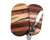 Small Oval Cheese Cutting Board made of multi woods, cherry, walnut and maple.
