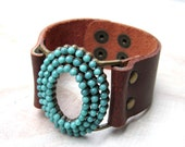 Leather Cuff bracelet turquoise and brown, Chic Boho Modern Adjustable