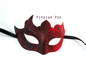 Black and Red Embossed paper clay Glitter mask (Allure Mask 01) Vampire,Goblin, Phantom mask for Halloween, mardi gras,new years eve