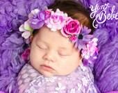 baby flower crown, flower girl flower crown, flower girl flower headband, purple floral headband, flower headband for babies