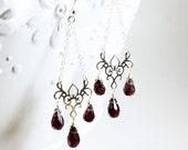 Garnet earrings, Sterling Silver, deep red gemstone earrings, fine earrings, chandelier earrings, January birthstone, gift for her, 3233