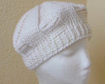Crochet handmade White hat, white beret, winter hat, winter beret, demi cap.