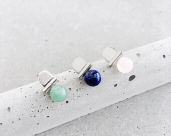 Stoned Arch Studs / sterling silver / architectural gemstone jewelry / rose quartz, lapis, malachite, green aventurine