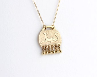 Gold Sphinx Pendant - Gold Mythic Animal Necklace - Necklace with Pendant - 14k Gold