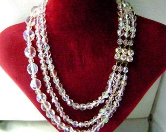Vintage AB Crystal Necklace Rhinestone Clasp Aurora Borealis Multi Strand  Bridal Wedding Necklace 1950's