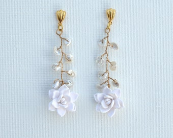 White Succulent and Freshwater Pearls Vine  Earrings.
