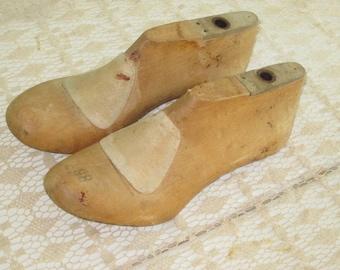 Pair Vintage Wood Cobbler's Wood Shoe Forms Shoe Stretchers