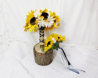 Rustic Wedding Bouquet, Sunflower Bouquets, White Daisies Bouquet, Rustic Wedding Bouquet, Sunflower Rustic Barn Wedding - 17 pieces