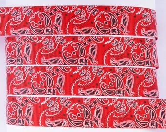 "10Yd Handerchief Pattern 7/8"" Red Grosgrain Ribbon"
