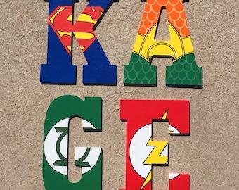 Superhero Wooden Letters, superhero Letters, Custom Letters, Superhero Decor, Boys Room Decor, Superhero Wood Letters, Superhero Initials