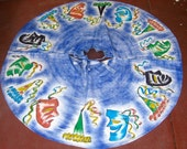 1950's Mexican Handpainted Signed Carnival Mask Circle Skirt
