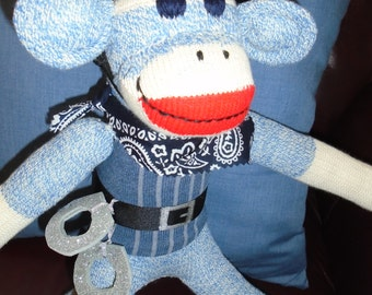 Policeman/Police Officer Classic Blue Denim Sock Monkey Doll