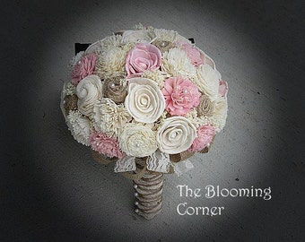 Wedding Bouquet, Sola wood Bouquet, Burlap  Bouquet, Alternative, burlap Bouquet, pink Bouquet, Sola flowers, Wood Bouquet