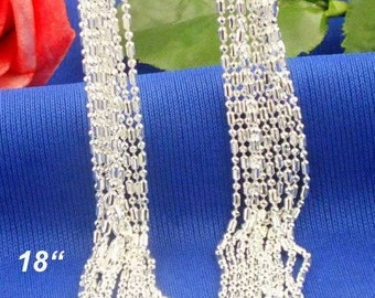 18 inch  (1pc)- Sterling Silver 1mm COLUMN Necklace Chains - .925 stamped -lobster clasp - Sterling Silver Stamped - Bulk - Column and Ball