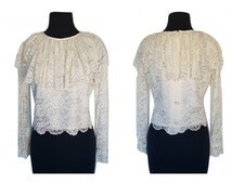 Ivory Lace Blouse / Vintage 60s 50s Cropped White Pirate Half Sleeve Top / Formal Blouse for Wedding / Made in California USA Size S - M