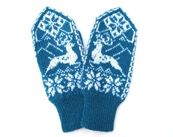 Cashmere wool mittens with deers pattern,Turquoise womens mittens,Warm winter glove,Scandinavian knit mittens,Snowflake mittens,Gift for Her