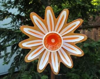 Glass Garden Decor, Hand Painted Glass Garden Art - Garden Art - Glass Flower Garden Art - Garden Sculpture - Repurposed Glass Art