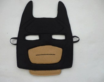 Lego inspired batman mask for children. Great gift, party, costume, Halloween, role play.