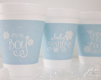 Baby It's Cold Outside Baby Shower - Printable Hot Chocolate or Coffee Cup Sleeves - Blue - SET OF 3 DESIGNS
