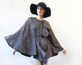 Vintage designer ETRO brown wool belted large collar shoulder throw poncho cape shawl wrap