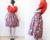 LIBERTY of LONDON vintage red black anemone poppy  print wool elastic high waist knee length midi skirt