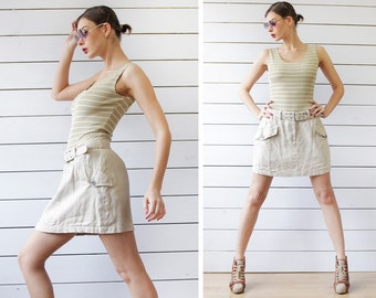 DKNY Vintage beige grey linen high waist belted pocketed sporty mini skirt S