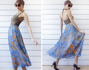 Vintage blue yellow gold colorful floral print accordion pleated ankle midi maxi skirt XS S