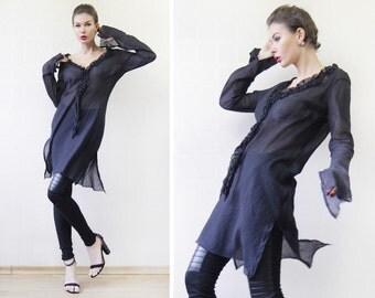 Vintage CELYN B black thin semi sheer cotton long sleeve ruffle collar shirt tunic dress