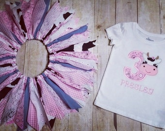 Made to Order - Cow Applique 3 Shirt with Cowgirl Scrap Tutu - Pink Bandana, Gingham, Denim, Lace - 3rd Birthday Outfit