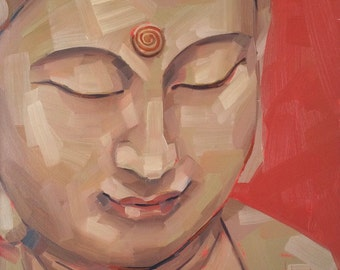 Buddha Face, Original Oil Painting, 8 x 8, free domestic shipping