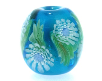 "Big handmade Lampwork Japanese Satake Glass Focal Bead ""Blooming"" A07 SRA Shirley"