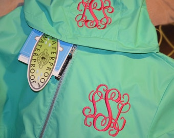 Monogram Rain Jacket, Charles River Rain Coat, Womens Rain Coat, Monogram Full Zip Charles River Rain Jacket, Monogram Sorority Rain Jackets