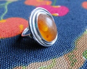 Vintage Swedish wonderful sterling silver ring with amber