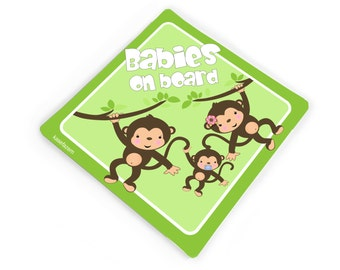 babies on board lil monkeys themed green and brown brothers car bumper sticker - CD15S