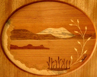Vintage 1993 WOOD INLAY Framed Dalarna SWEDEN Picture of Mountain Lake Scene Marquetry Warm Tones Handmade Signed by Artist Goran Andersson