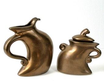 Vintage Lambert Struttin Dancin Creamer & Sugar Whimsical Modernist Art Pottery Metallic Bronze Mottled Glaze CA Artist Signed Excel Cond