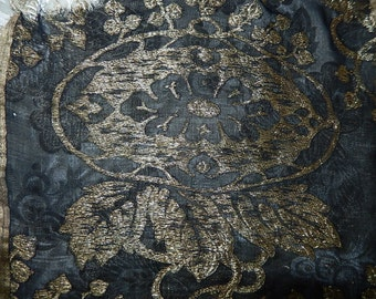 Vintage gold metallic lame & black silk ribbon fragment projects lampshade sewing salvage art nouveau floral